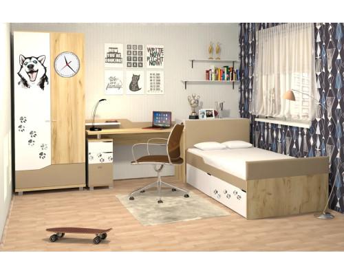 """Кровать """"Хаски 3"""" с выдвижным ящиками со съёмными мягкими спинками Ивр"""