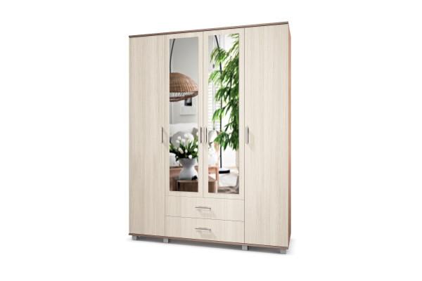 "Шкаф четырехстворчатый с двумя зеркалами и ящиками ""Ева"" Е43 Модерн"